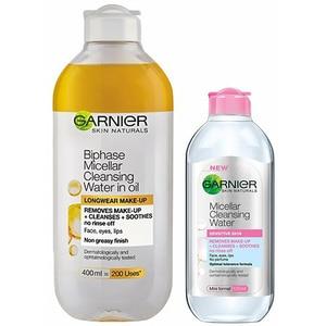 Pachet promo GARNIER Skin Naturals: Apa micelara bifazica, 400ml + Mini apa micelara pentru ten sensibil, 125ml PAKXRO00288
