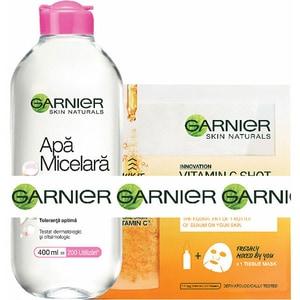 Pachet promo GARNIER Skin Naturals: Apa micelara Sensitive, 400ml + Masca de fata Fresh-Mix cu Vitamic C, 33g PAKXRO00294