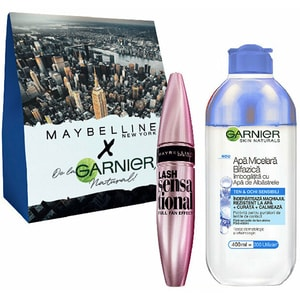 Set cadou GARNIER Skin Naturals: Apa micelara bifazica cu albastrele, 400ml + Mascara MAYBELLINE Lash Sensational, Black PAKYRO02318