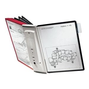 Sistem de prezentare pentru perete DURABLE Sherpa, 10 display-uri, rosu-negru PBPDB563100