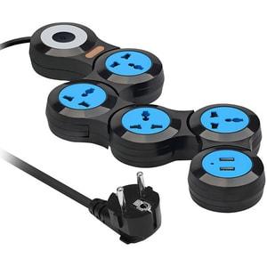 Prelungitor modular cu protectie PROMATE POWERSTRIP-2, 4 prize, 2 x USB, negru PRZPOWERST2B300