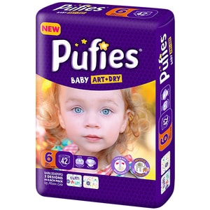 Scutece PUFIES Baby Art&Dry Extra Large nr 6, Unisex, +13 kg, 42 buc SCB18538