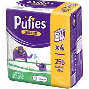 Servetele umede PUFIES Clean&Fresh, 4 pachete, 256 buc SCB18979