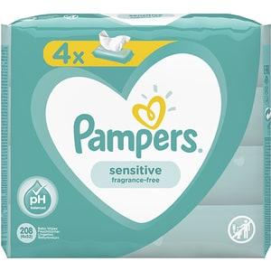 Servetele umede PAMPERS Sensitive, 4 pachete, 208buc SCB81687199
