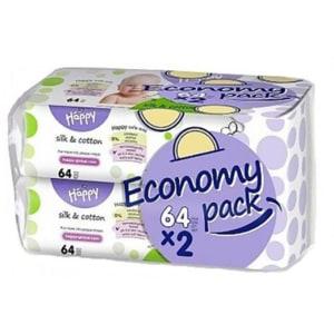 Servetele umede HAPPY Silk&Cotton, 2 pachete, 128 buc SCBB062WB02009