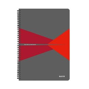 Caiet de birou LEITZ Office, dictando, A5, 90 file, legatura spira, rosu-gri PBSSL022802