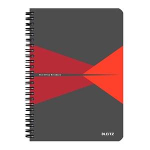 Caiet de birou LEITZ, matematica, A5, 90 file, legatura spirala, rosu PBSSL023322