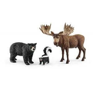 Set figurine SCHLEICH Animale din padurile Americii de Nord SL41458, 3 ani+, negru-maro JINSL41456