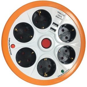 Prelungitor cu protectie STROHM SMGES054, 6 prize, 2 x USB, 1.5 m, alb-portocaliu PRZSMGES054