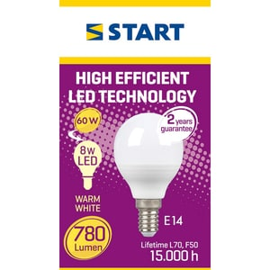 Bec LED START 5949046203561, E14, 8W alb BECLEDSTR8WP45