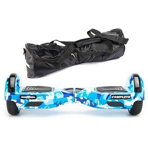 Hoverboard FREEWHEEL Complete, 6.5 inch, viteza 15 km/h, motor 2 x 350W, camuflaj albastru + geanta transport cadou JUCFREECOMPCAMB
