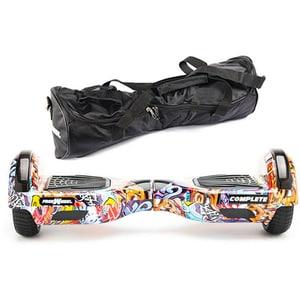 Hoverboard FREEWHEEL Complete, 6.5 inch, viteza 15 km/h, motor 2 x 350W, graffiti albastru + geanta transport cadou JUCFREECOMPGBLU