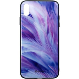 Carcasa pentru Apple iPhone Xs Max, TELLUR Glass print Feather, TLL121335, multicolor AHSTLL121335