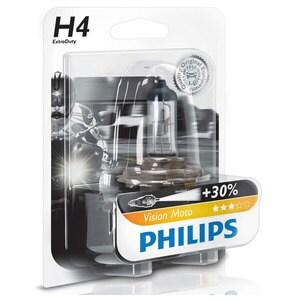 Bec moto far halogen PHILIPS H4 Vision+30%, 12V, 60/55W, P43T-38, blister 1 bucata AUT12342PRBW