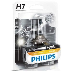 Bec moto far halogen PHILIPS H7 Vision+30%, 12V, 55W, PX26D, blister 1 bucata AUT12972PRBW