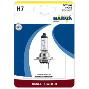 Bec auto far halogen NARVA 480474000, H7, Range Power+90, 12V, 55W, PX26D, blister 1 bucata AUT480474000