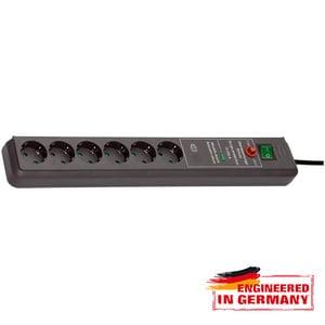 Prelungitor BRENNENSTUHL 149918, 6 prize Schuko,  3m, H05VV-F 3G1.5mm, intrerupator, negru PRZ149918