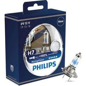 Set 2 becuri auto PHILIPS H7 RacingVision+150% 12V AUT12972RVS2