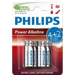 Baterii alcaline AAA PHILIPS LR03P6BP/10, 4+2 bucati BATLR03P6BP/10