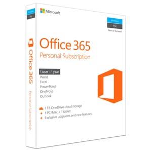 Microsoft Office 365 Personal, Engleza EuroZone, Subscriptie 1 an, 1 PC/Mac, 1 Tableta, 1 Telefon, Windows, Mac, Android, iOS EDUQQ200543