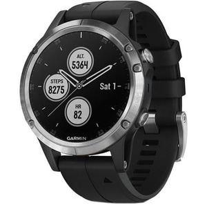 Smartwatch GARMIN Fenix 5 Plus, Android/iOS, silicon, Silver/Black SMWFENIX5PLSVBK