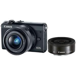 Aparat foto Mirrorless CANON EOS M100, 24.2 MP, Wi-Fi, negru + Obiectiv EF-M 15-45mm + Obiectiv EF-M 22mm MLCM100B154522