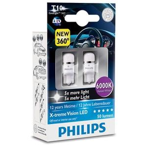 Bec auto led PHILIPS W5W Xtreme Vision, 12V, 1W/6000K, 2 bucati AUT127996000KX2