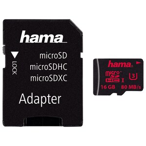 Card de memorie HAMA 123977 microSDHC, 16GB, Clasa UHS-I 3, 80MBs, adaptor