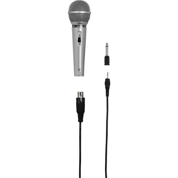 Microfon dinamic karaoke HAMA 46040, Jack 3.5 mm, Jack 6.3 mm, argintiu