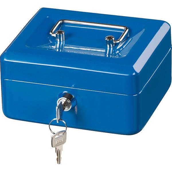 Caseta valori HAMA Basic KC 150D, Inchidere cheie, 150 x 120 x 80 mm, albastru