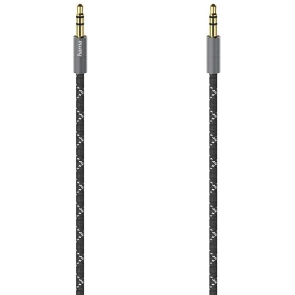 Cablu audio Jack 3.5mm HAMA 205130, 1.5m, placat aur, negru-gri