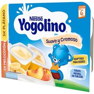 Gustare cu lapte NESTLE Yogolino Creamy Duo cu banane si piersici 12422801, 6 luni+, 6 x 60g