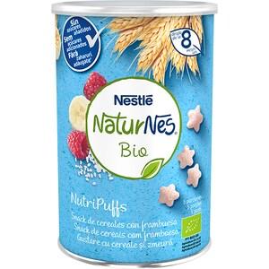 Gustare NESTLE NaturNes BIO NutriPuffs cu cereale si zmeura 12395072, 8 luni+, 35g
