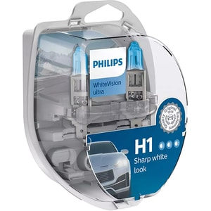 Set becuri auto PHILIPS White Vision Ultra, H1, 3700K, 55W, 2 buc