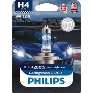 Bec auto PHILIPS Racing Vision+, 200%, H4, 3600K, 60/55W, 1 buc