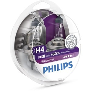 Bec auto far halogen PHILIPS H4 Vision Plus+60%, 12V, 60/55W, P43T, set 2 bucati