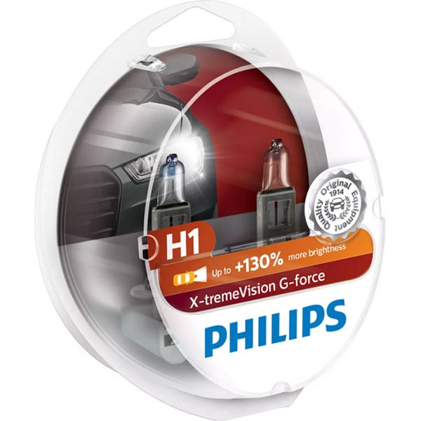 Bec auto halogen pentru far PHILIPS X-tremeVison, +130%, H1, 12V, 55W, P14.5S, 2 bucati