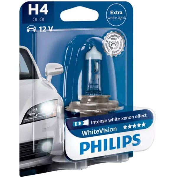Bec auto halogen pentru far PHILIPS White Vision, H4, 12V, 60/55W, P43T-38, 1 bucata