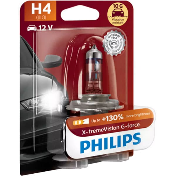 Bec auto halogen pentru far PHILIPS X-tremeVison, +130%, H4, 12V, 60/55W, P43T-38, 1 bucata