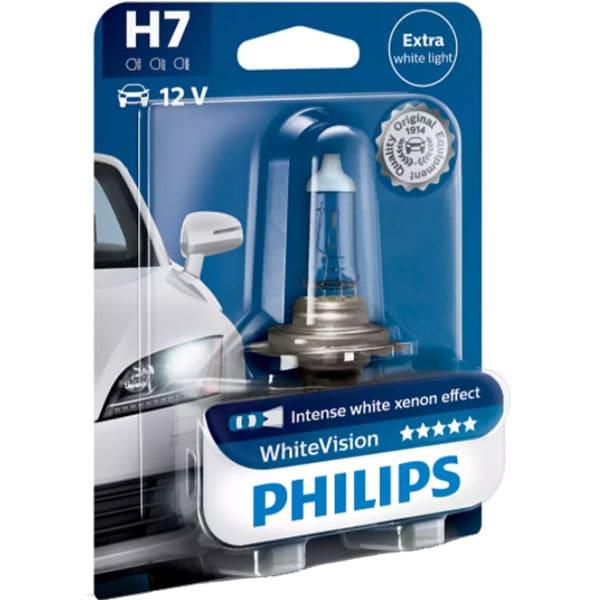 Bec auto halogen pentru far PHILIPS White Vision, H7, 12V, 55W, PX26D, 1 bucata