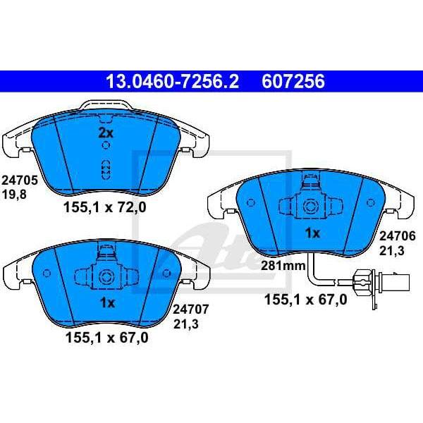 Placute frana fata ATE 13046072562, Audi