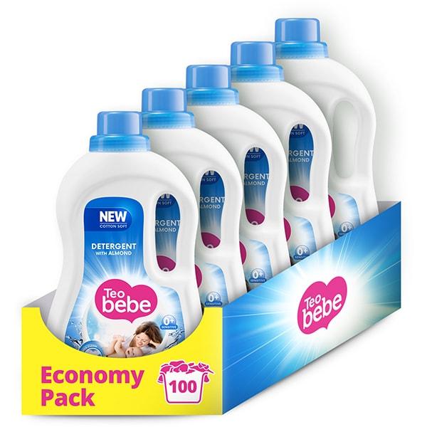 Detergent lichid TEO BEBE Cotton Soft Almond, 5 x 1.1l, 100 spalari