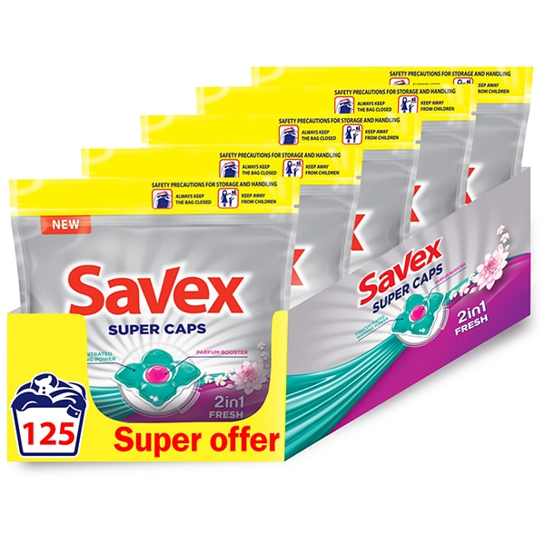 Detergent capsule SAVEX Parfum Lock 2in1 Fresh, 125 spalari