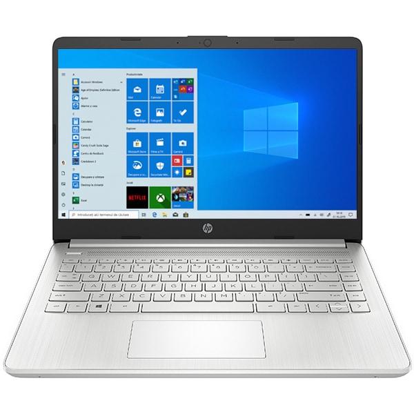 "Laptop HP 14s-fq0023nq, AMD Athlon Silver 3050U pana la 3.2GHz, 14"" HD, 4GB, SSD 128GB, AMD Radeon Graphics, Windows 10 Home S, argintiu"