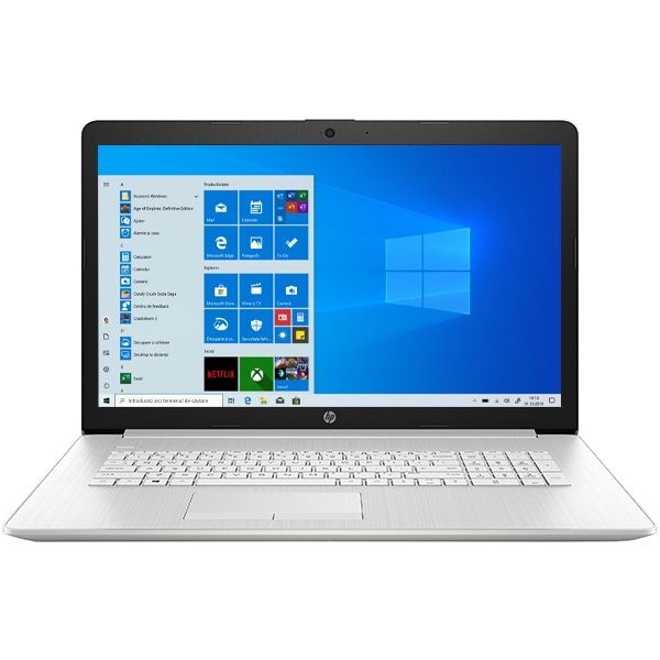 "Laptop HP 17-by3015nq, Intel Core i5-1035G1 pana la 3.6GHz, 17.3"" Full HD, 8GB, SSD 512GB, Intel UHD Graphics, Windows 10 Home, argintiu"