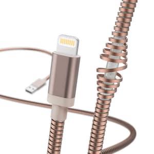 Cablu date HAMA Metal 183338, Lightning, 1.5m, roz auriu