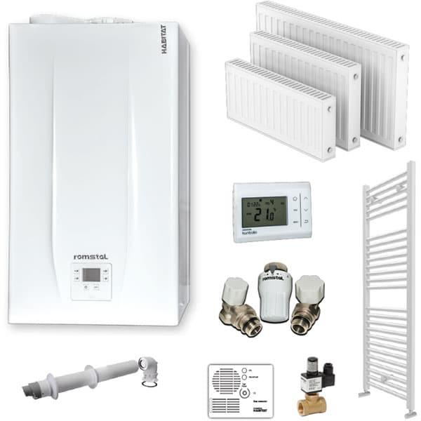 Pachet centrala termica pe gaz in condensare HABITAT 10P 0239, 24 kW, Kit inclus, alb
