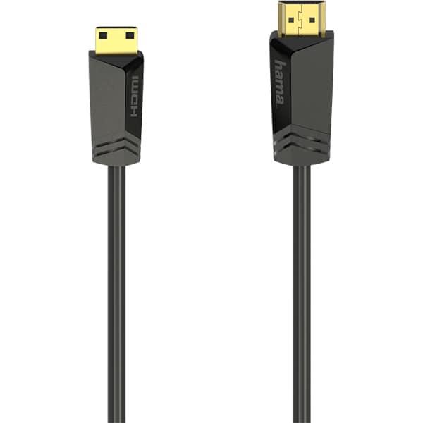 Cablu HDMI - mini HDMI HAMA 205015, 1.5m, 4K HDR, placat cu aur, negru