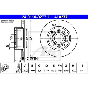 Disc frana spate ATE 24011002771, VW, Skoda, Audi