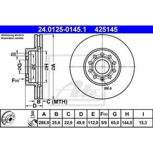 Disc frana fata ATE 24012501451, VW, Skoda